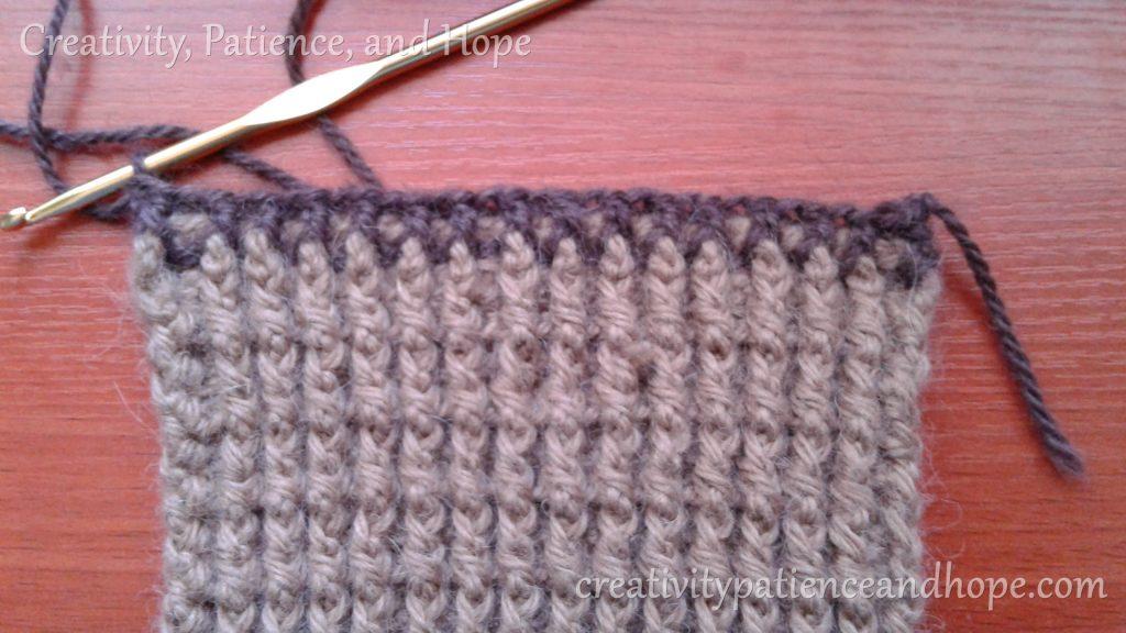 first row of dark brown trim
