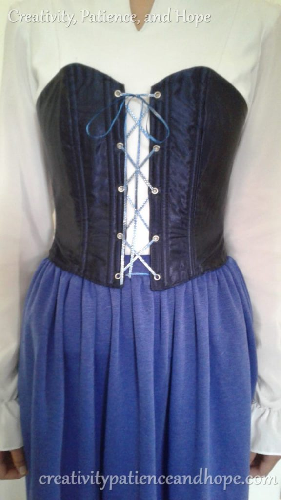 navy blue corset with boning