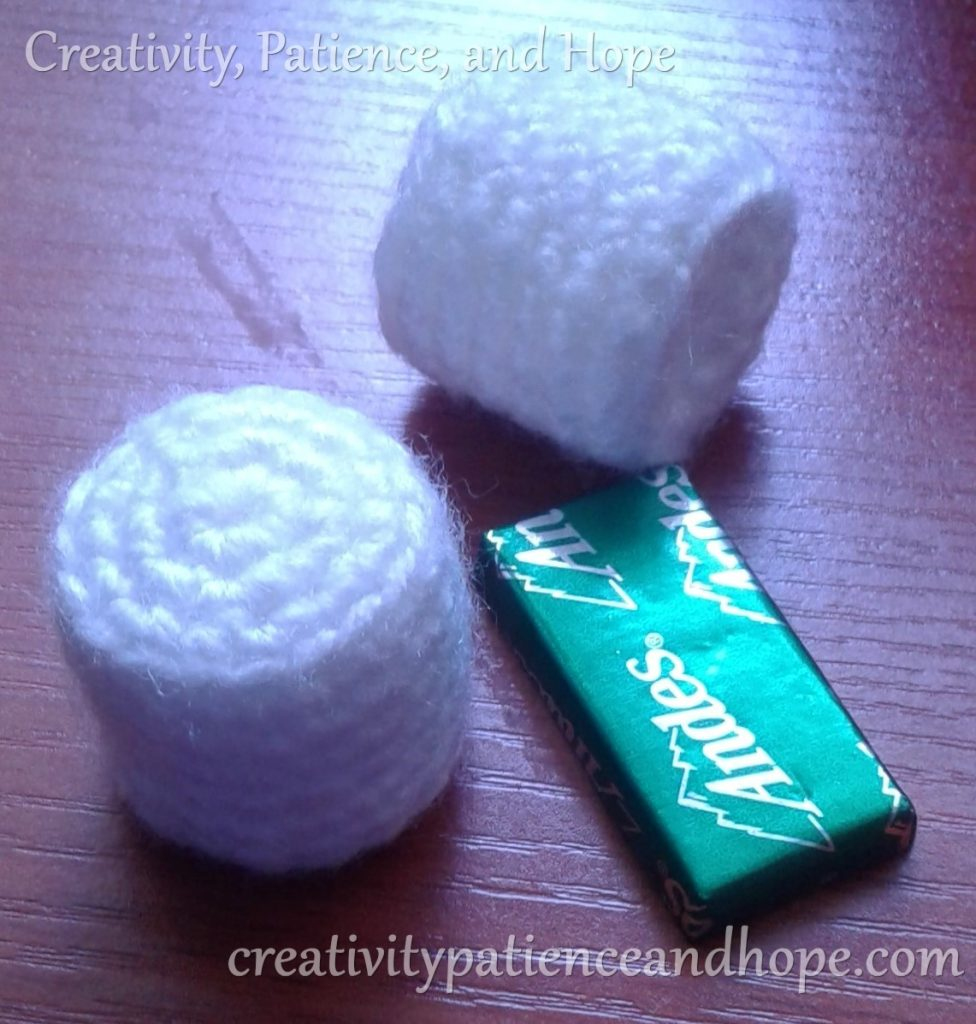 crochet marshmallow with andes candy