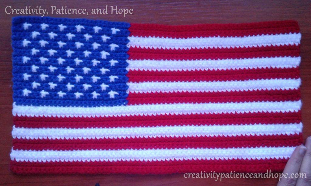 crochet United States flag