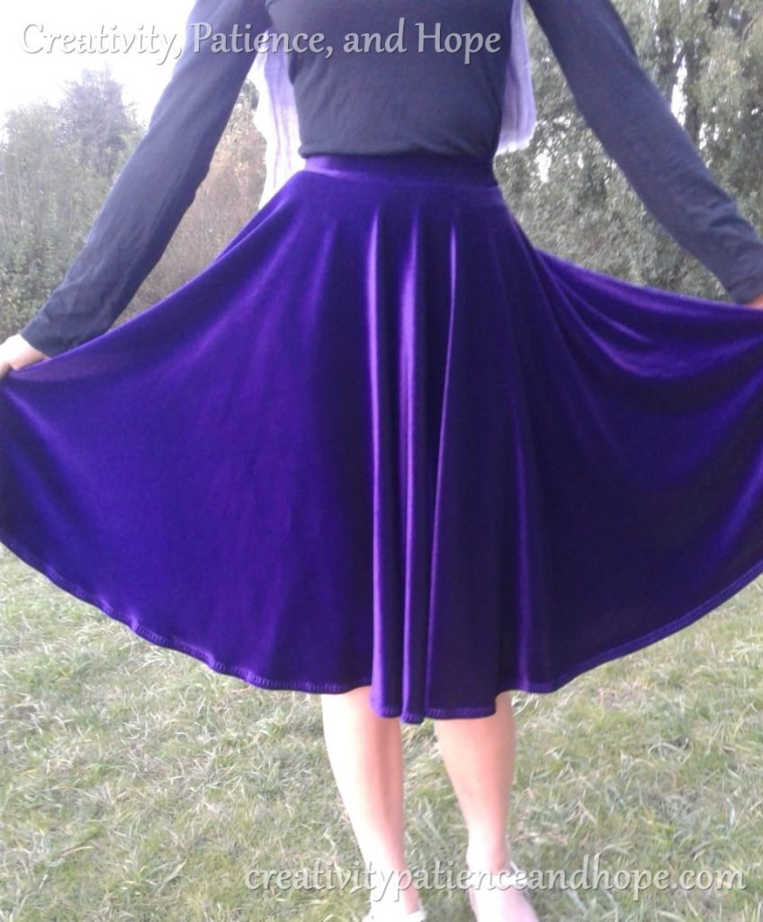 purple velvet circle skirt showing fullness