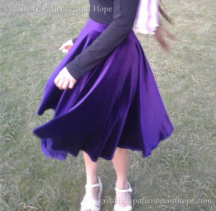 twirling circle skirt