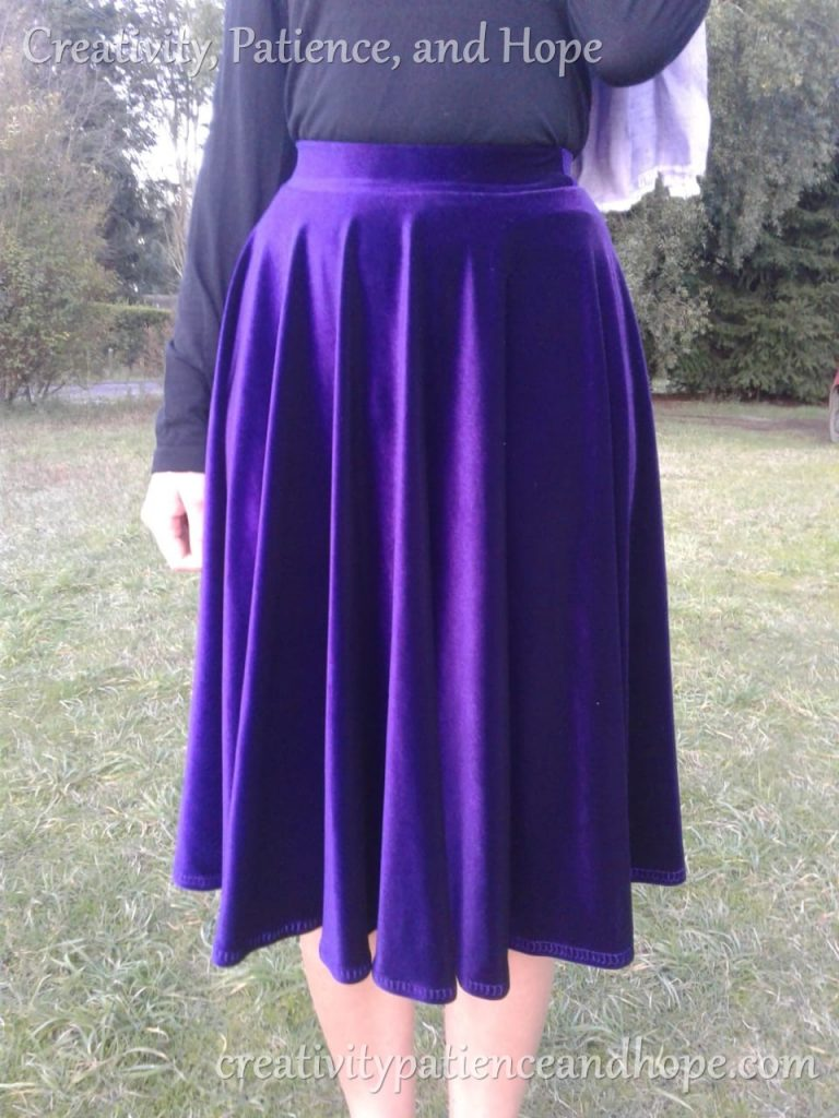 purple velvet circle skirt