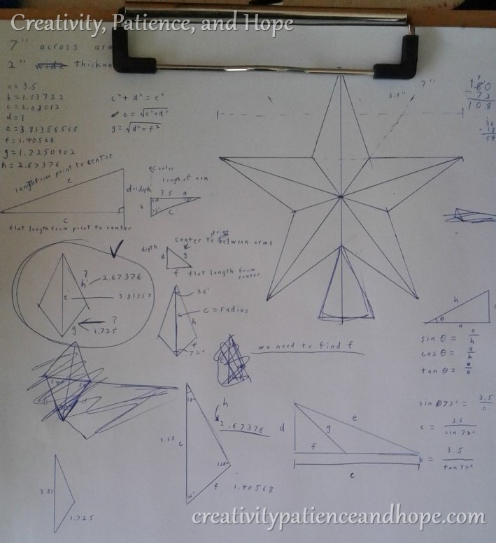 trigonometry calculations for a perfect five-pointed star
